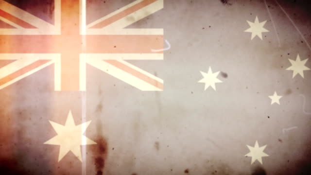 Australian Flag - Grungy Retro Old Film Loop with Audio