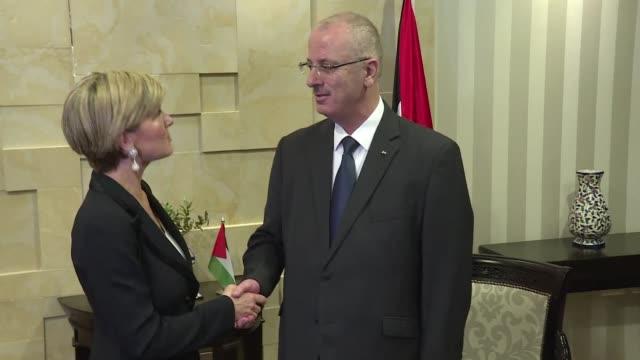 Australian Foreign Minister Julie Bishop on Monday met Palestinian Prime minister Rami Hamdallah in Ramallah