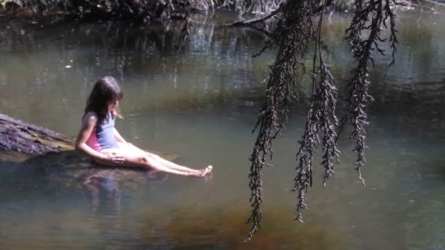 australian girl having fun in river waters - river stock videos & royalty-free footage