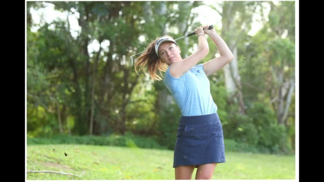 australian golfer becky kay poses during a portrait session at tally valley golf club on march 23 2020 in gold coast australia - gif stock videos & royalty-free footage
