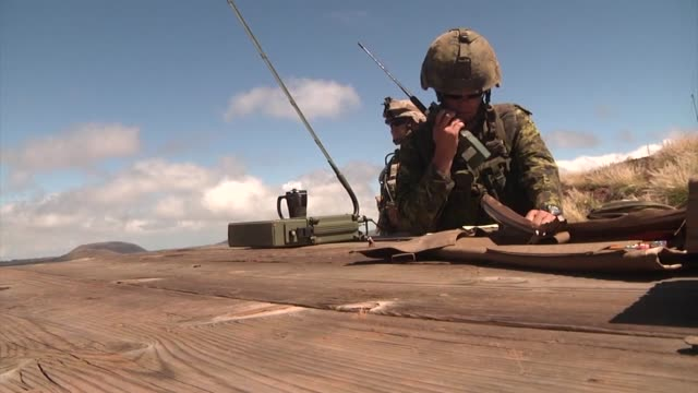 australian new zealand canadian and us marine corps forces training at the pohakuloa training area in hawaii the fire support training exercise... - 2014 stock videos & royalty-free footage