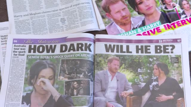 australian newspaper front pages and celebrity magazines splash with details of a two-hour sit-down with oprah winfrey by the duke and duchess of... - interview raw footage stock videos & royalty-free footage