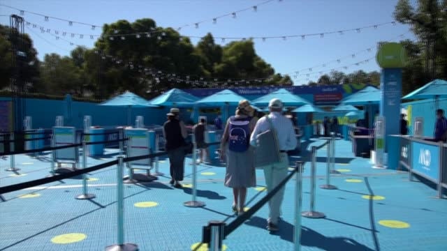 australian open welcomes back spectators after a five-day lockdown was imposed to curb a covid-19 outbreak from hotel quarantine in melbourne - opening stock videos & royalty-free footage