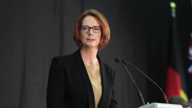 australian prime minister julia gillard at aberfoyle park high school hosts community cabinet meeting on february 20, 2013 in adelaide, australia.... - prime minister stock videos & royalty-free footage