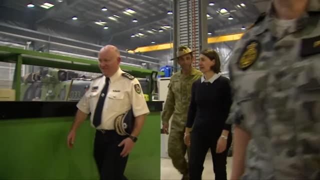 australian prime minister scott morrison visiting a naval base in new south wales - 首相点の映像素材/bロール