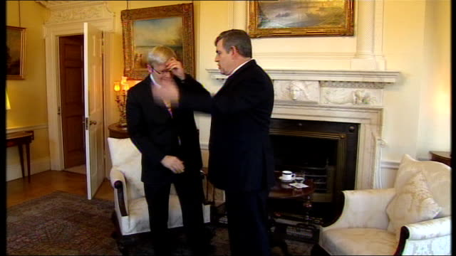 Australian Prime Minister visits Downing Street ENGLAND London Downing Street PHOTOGRAPHY *** Gordon Brown MP and Kevin Rudd entering room then...