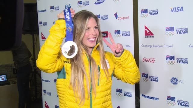 australian snowboarder torah bright who won the halfpipe gold in vancouver and took the silver in sochi says participating in her third olympic games... - halfpipe stock-videos und b-roll-filmmaterial