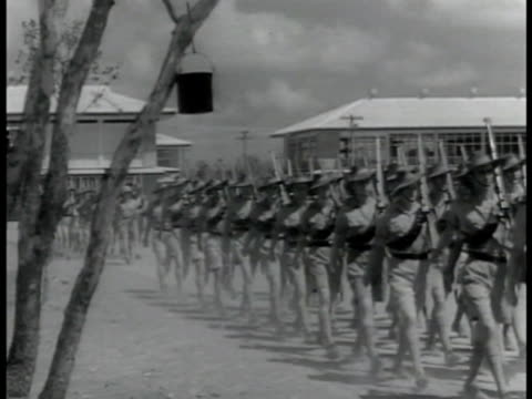 australian soldiers marching in summer uniform w/ buildings bg supply line ms sleek train pulling into station train w/ open container cars moving on... - army soldier stock videos & royalty-free footage