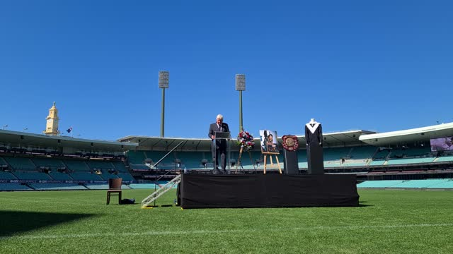 australian sports commentator ray warren speaks during the tommy raudonikis memorial service at the sydney cricket ground on april 19, 2021 in... - australian national team stock videos & royalty-free footage