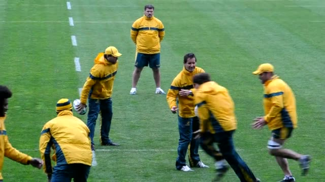 australian wallabies attended a training session in auckland on wednesday in preparation for their rugby world cup semi-final clash against the all... - australian national team stock videos & royalty-free footage