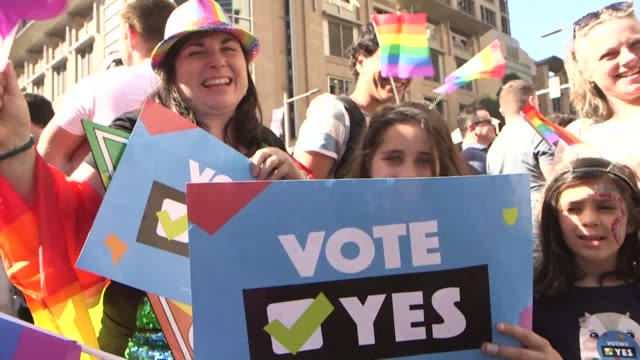 australians vote in favour of allowing same sex couples to marry according to official results sending the task of legalising marriage equality to a... - yes single word stock videos & royalty-free footage