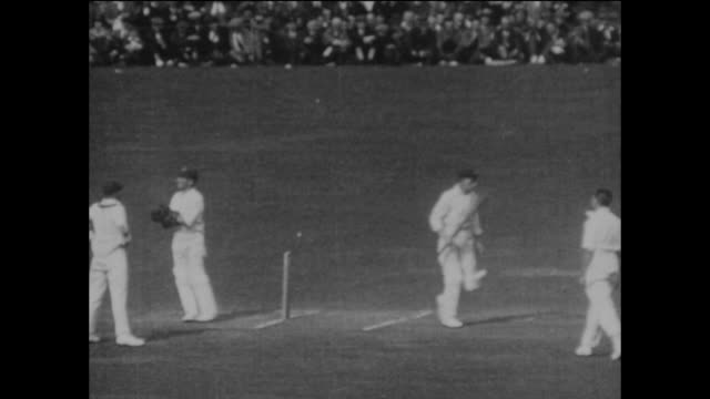 australia's herbie collins is out, caught by frank woolley off the bowling of wilfred rhodes for 4 runs, as australia are bowled out for 125 in their... - inning stock videos & royalty-free footage