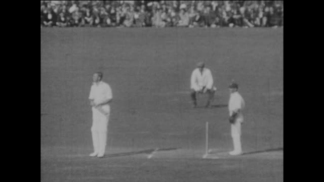 australia's jack gregory is out, caught by herbert sutcliffe off the bowling of maurice tate for 9 runs, as australia are bowled out for 125 in their... - inning stock videos & royalty-free footage