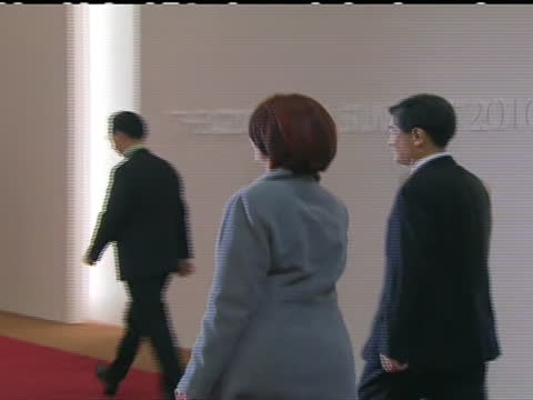 cu of australia's prime minister julia gillard as she arrives at the 2010 g20 summit that took place in seoul g20 summit that occurred in 2010 took... - business or economy or employment and labor or financial market or finance or agriculture stock videos & royalty-free footage