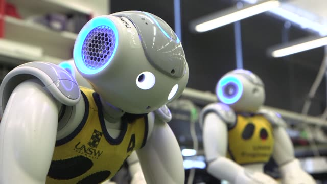 australia's top robot footballers are going for gold at the world's biggest robotics contest in japan in a bid to win the robocup trophy for a record... - world record stock videos and b-roll footage