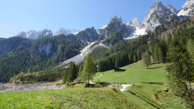 austria alpine slope and peaks - panorama stock-videos und b-roll-filmmaterial