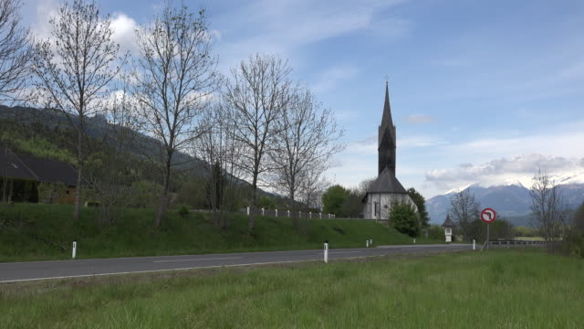 austria church by highway near kamering zoom in - austria stock videos and b-roll footage