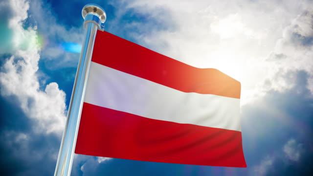 4k - österreich flagge | loopable stock video - austria flag stock-videos und b-roll-filmmaterial