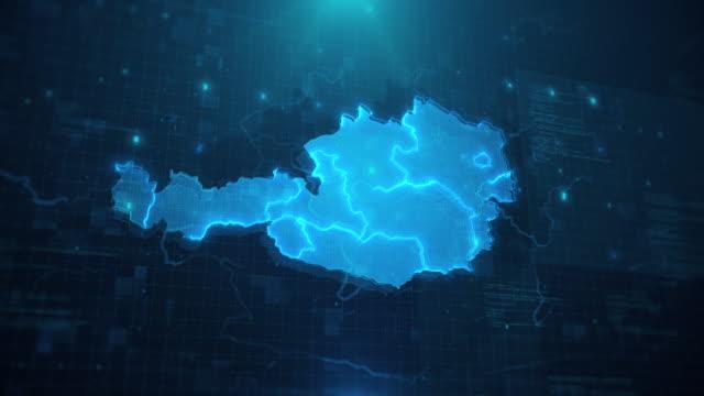 stockvideo's en b-roll-footage met oostenrijk kaart met regio's tegen blauwe geanimeerde achtergrond 4k uhd - oostenrijkse cultuur