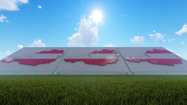 österrike kartor med flaggor bakgrund med blå himmel - österrikisk kultur bildbanksvideor och videomaterial från bakom kulisserna
