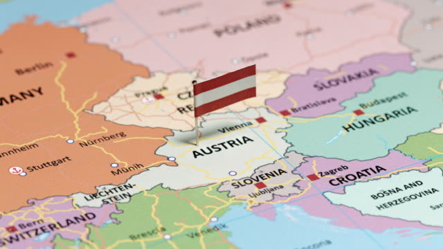 austria with national flag - austria video stock e b–roll