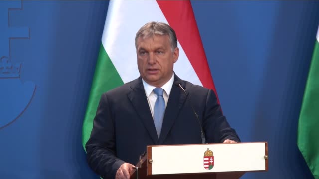 austrian chancellor christian kern and hungarian prime minister viktor orban hold a joint press conference after a meeting concentrated on refugee... - prime minister stock videos & royalty-free footage
