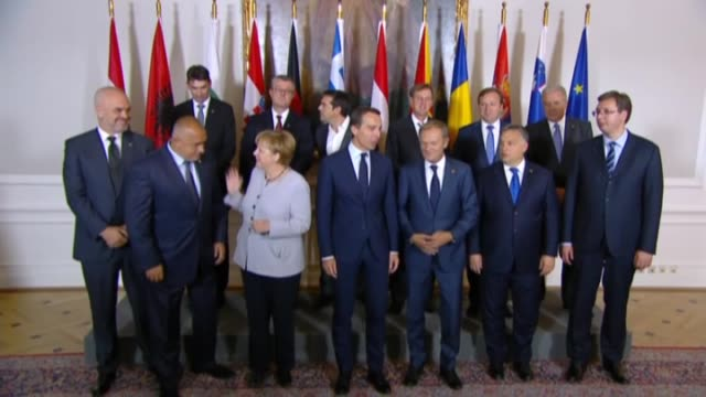austrian chancellor christian kern, european council president donald tusk, serbian prime minister aleksandar vucic, romanian interior minister... - traditionally austrian stock videos & royalty-free footage