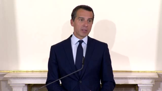 """austrian chancellor christian kern speaks during a press conference following the summit on """"migration along the balkan route"""" in vienna, austria, on... - traditionally austrian stock videos & royalty-free footage"""