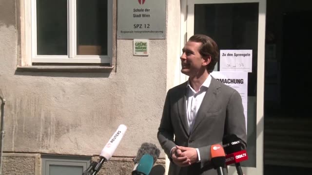 austrian chancellor sebastian kurz gives a press statement following his vote in the european parliamentary elections - austrian culture stock videos and b-roll footage