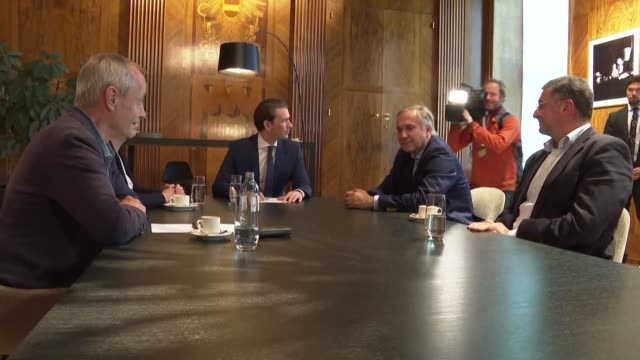 austrian chancellor sebastian kurz holds a roundtable meeting with representatives of political parties at the federal chancellery - traditionally austrian stock videos and b-roll footage