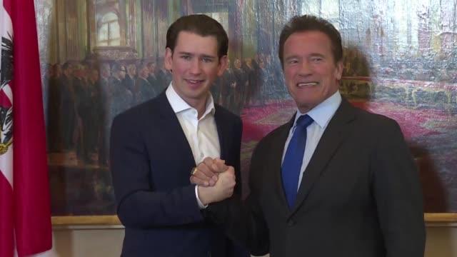 Austrian Chancellor Sebastian Kurz meets Arnold Schwarzenegger in Vienna