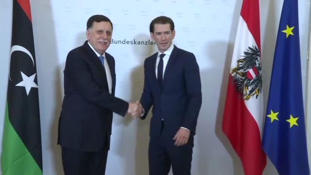 austrian chancellor sebastian kurz receives libyan prime minister fayez alsarraj in vienna - traditionally austrian stock videos & royalty-free footage
