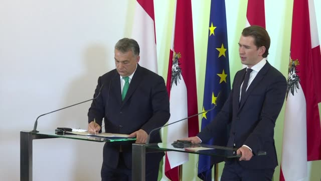 austrian chancellor sebastian kurz says that he aims to ease east west tensions within the european union as his new right wing government welcomes... - österrikisk kultur bildbanksvideor och videomaterial från bakom kulisserna