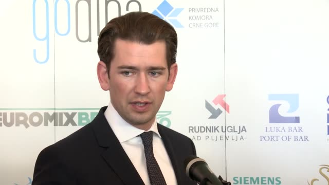 vídeos de stock, filmes e b-roll de austrian chancellor sebastian kurz speaks to media on the sidelines of the economic conference montenegro 2018 in budva montenegro on october 25 2018 - cultura austríaca