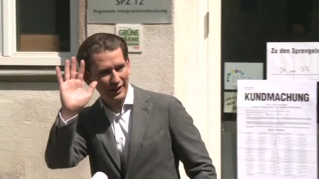 stockvideo's en b-roll-footage met austrian chancellor sebastian kurz visits a polling station in vienna voting in europan elections taking place across the bloc - oostenrijkse cultuur