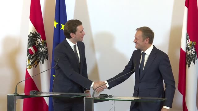Austrian Chancellor Sebastian Kurz welcomes European Council President Donald Tusk in Vienna on Tuesday to discuss Austria's six month presidency of...
