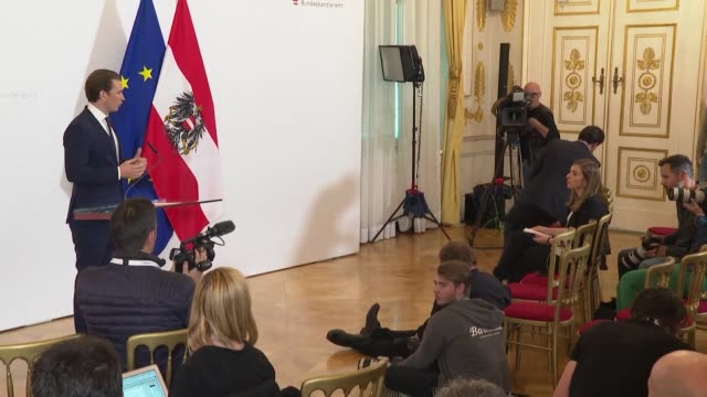 vídeos y material grabado en eventos de stock de austrian conservative chancellor sebastian kurz says he will do everything to ensure stability in the country in the coming months after it was... - cultura austríaca