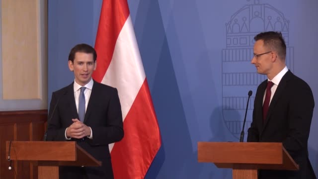 austrian foreign minister sebastian kurz and hungarian minister of foreign affairs and trade peter szijjarto hold a joint press conference after... - austrian culture stock videos and b-roll footage