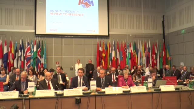 austrian foreign minister sebastian kurz nato deputy secretary general rose gottemoeller and osce secretary general lamberto zannier speak during the... - traditionally austrian stock videos and b-roll footage