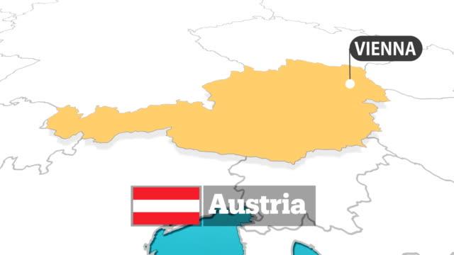 österreichische karte mit flagge - österreich stock-videos und b-roll-filmmaterial