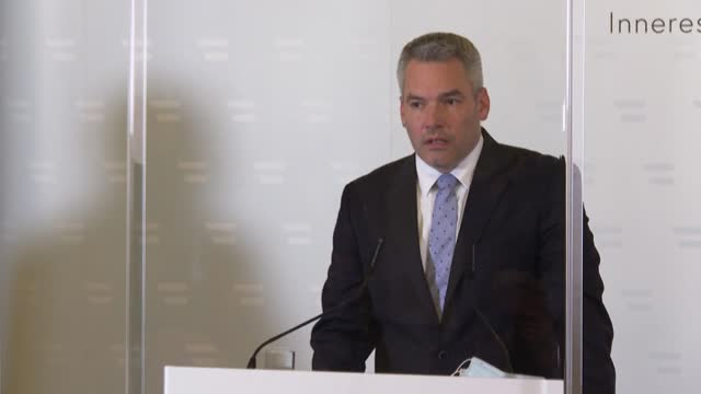 austrian minister of interior karl nehammer condemns the terror attack that killed three people after a gunmen opened fire at multiple locations... - traditionally austrian stock videos & royalty-free footage