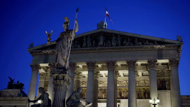 Austrian Parliament at night