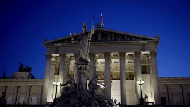 austrian parliament at night - vienna austria stock videos & royalty-free footage