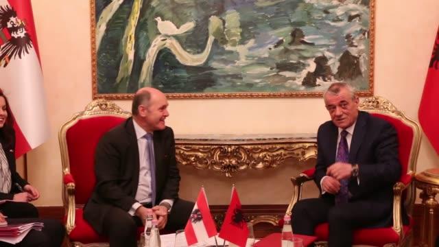 austrian parliament speaker wolfgang sobotka meets with his albanian counterpart gramoz ruci in tirana, albania on march 06, 2020. - österrikisk kultur bildbanksvideor och videomaterial från bakom kulisserna