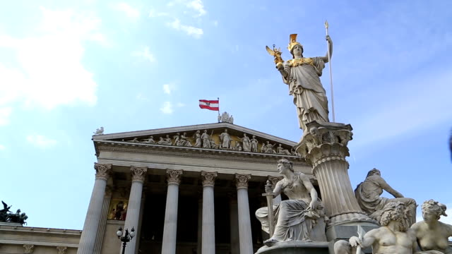 Austrian parliament with Pallas Athena statue, Vienna,