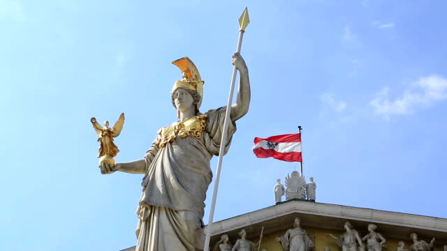 austrian parliament with pallas athena statue, vienna, - austrian culture stock videos & royalty-free footage