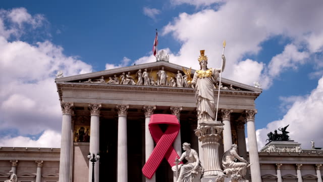 austrian parliament with red ribbon - time lapse - award ribbon stock videos & royalty-free footage