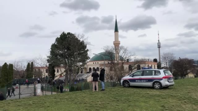 austrian police officers provide security outside the vienna islamic centre during the friday prayers following deadly terror attacks on mosques in... - austrian culture stock videos & royalty-free footage