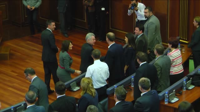 austrian president heinz fischer addresses members of kosovo parliament in pristina, kosovo on october 28, 2015. after parliament session, fischer... - traditionally austrian stock videos & royalty-free footage