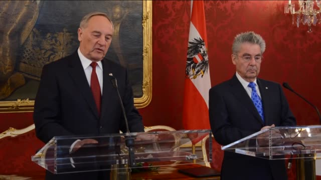 austrian president heinz fischer welcomes latvian president andris berzins with an official ceremony in vienna austria on april 8 2015 andris berzins... - traditionally austrian stock videos & royalty-free footage